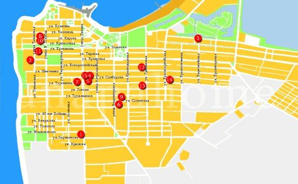 гостиницы анапы на карте